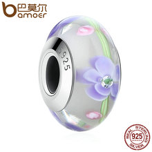 Buy BAMOER Hotsale 100% 925 Sterling Silver Purple European Murano Glass Beads Charms fit Bracelets & Bangles DIY Accessories SCZ019 for $6.99 in AliExpress store