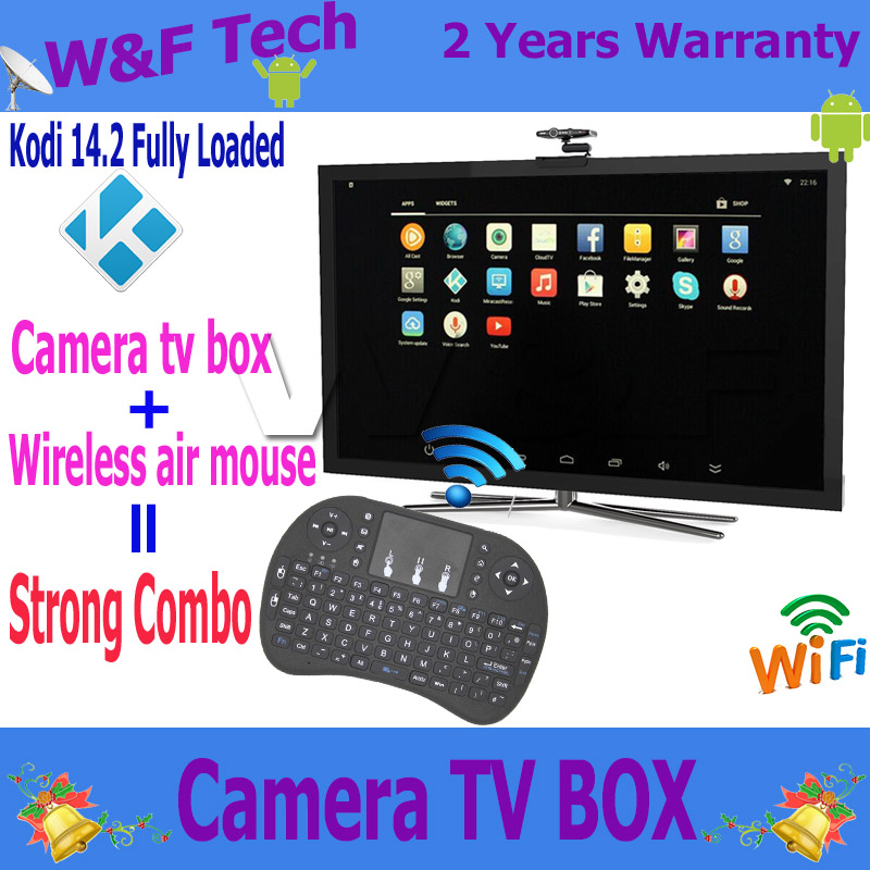 Fashion Camera android tv box quad core android 4.4 kodi fully loaded support skype youtube with I8 air mouse(China (Mainland))