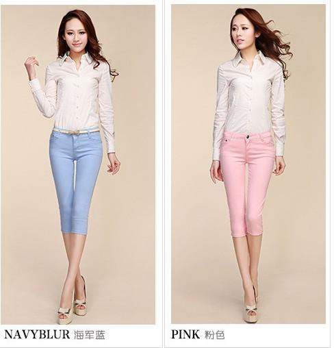 Женские брюки сексуальный весной упругой конфеты цветной карандаш брюки джинсы 7 ...