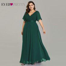 בתוספת גודל ורוד שמלות נשף ארוך פעם די V-צוואר שיפון אונליין Robe דה Soiree 2019 כחול כהה צד פורמלי שמלות עבור נשים(China)
