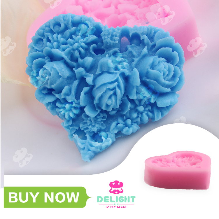 3D Rose love heart fondant  molds chocolate cake silicone mold soap candle moulds  sugar craft tools  bakeware