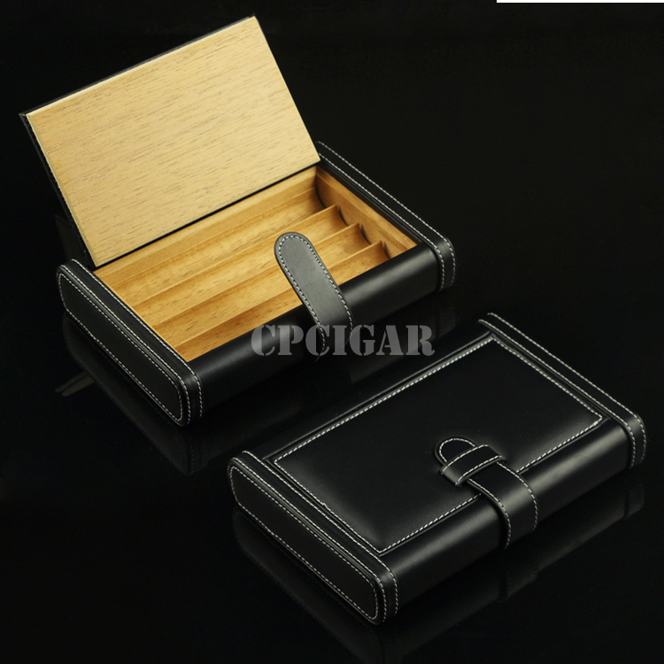 Black Leather Book Shaped Travel Cigar Humidor Tube Lined Solid Cedar Wood Cigarette Cigar Case Box(China (Mainland))