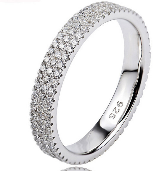 solid 925 sterling silver ring, 3-row pave setting cubic zirconia diamond silver ring for women, wedding bridal bands rings(China (Mainland))