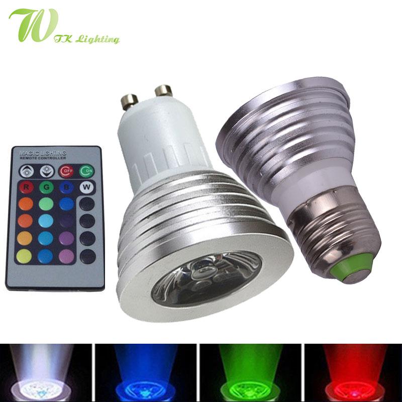 LED 16 Colour RGB Spotlight E27/GU10 AC: 86-265v MR16 DC:12v RGB Colourful Lamp LED 3W Lighting +24 Key IR Remote Control(China (Mainland))