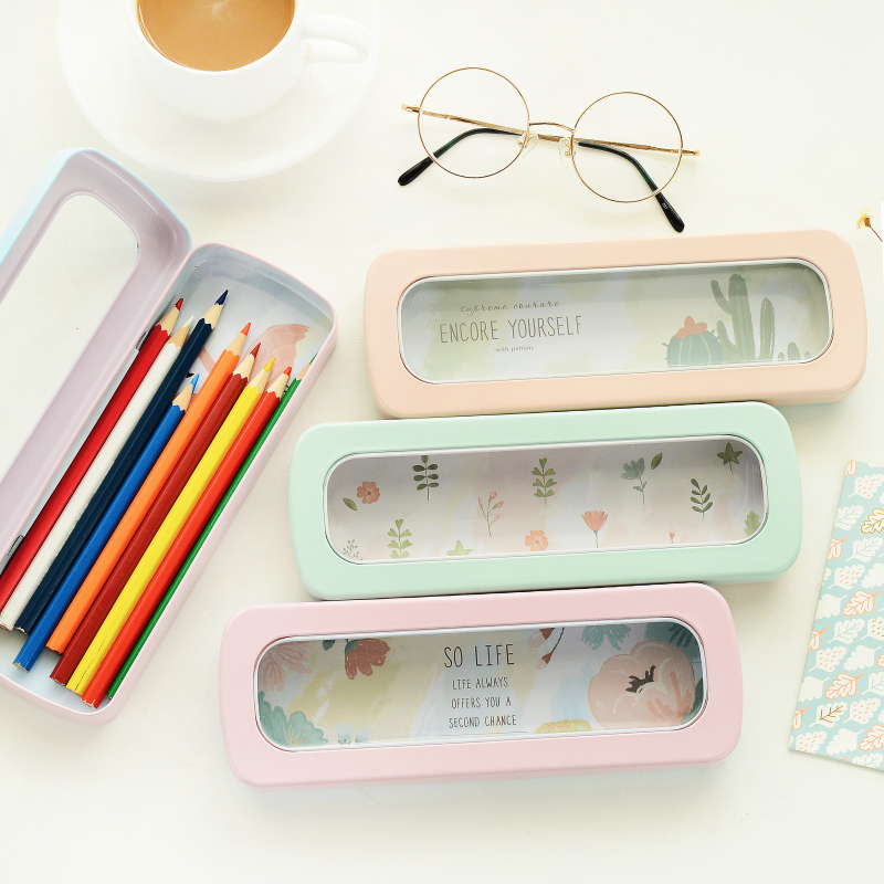 An installation window South Korea stationery tin box simple tinplate pencil case pencil case for students students(China (Mainland))