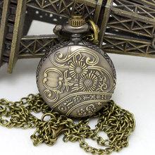 2014 New 1PC Necklace Chain Flower Enamel Pocket Watch W Battery Bronze Tone 82 5cm P569