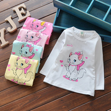 Baby Toddler Girls Cotton Summer Spring Autumn T-shirts Lovely Character Print Tops Long Sleeve G046(China (Mainland))