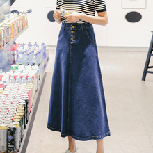 2016 New Spring Summer Fashion Single-breasted A-line Loose Jeans Skirts Womens High Street Sweet Denim Casual Long Skirt