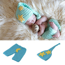 Buy Star Moon Design Baby Photo props Knitted Crochet Toddler Blue Hat Cap and Pant 0 6 M Baby shower Gifts Newborn Photo Props ) for $15.93 in AliExpress store