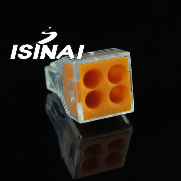 WAGO Push Wire Wiring Connector Junction Box 4 Pin Conductor Terminal Block AWG 18-12 (25 pieces/lot ) - ISINAI online store