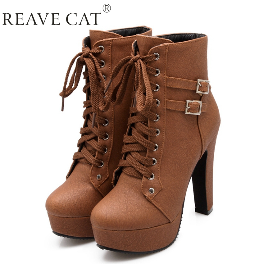 Big Size 34-43 Lady's Dress Ankle Boots For Women Sexy Buckle European Style Thick High Heels Motorcycle Boot Hot Sale(China (Mainland))