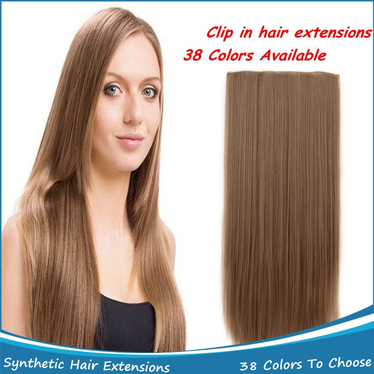 New Long 22inch 55cm Women Straight High Temperature Resistant Sythetic Clip in Hair Extensions Cabelo Sintetico 5 Clips 130g<br><br>Aliexpress