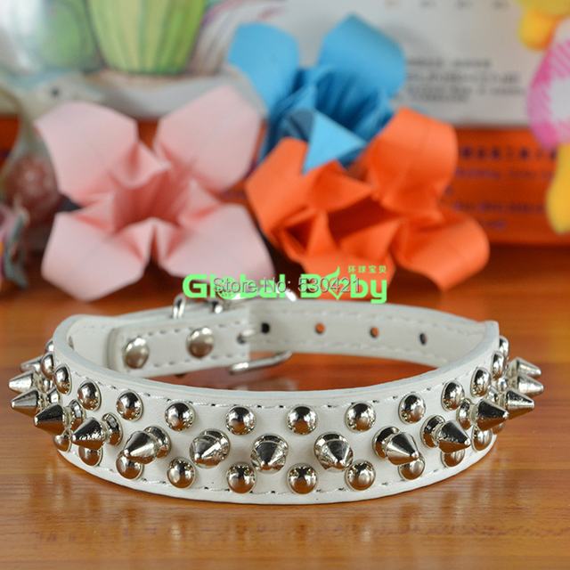 Hot Sale Fashion Pu Leather Studded Round Spikes and Small MushRoom Dog Pet Small Collar Necklace