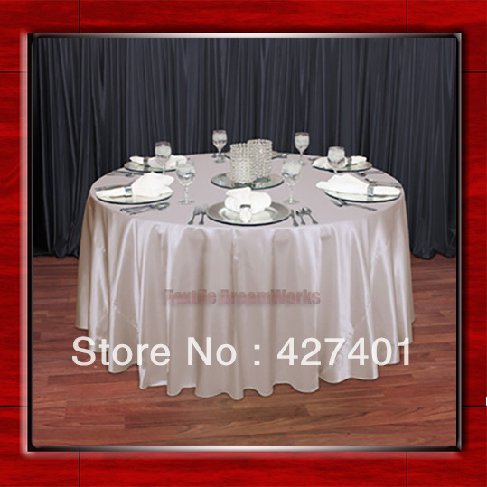 "Hot Sale Peach Shaped Poly Satin Table Cloth Wedding Meeting Party Round Tablecloths/Table Linen (128"" Round )"