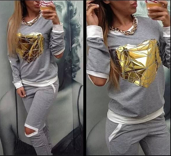 2015 Hot Gold Heart Hollow Out Lady Tracksuit Women Hoodies Sweatshirt +Pant Jogging Sports Costumes Track suit 2 Piece Set(China (Mainland))