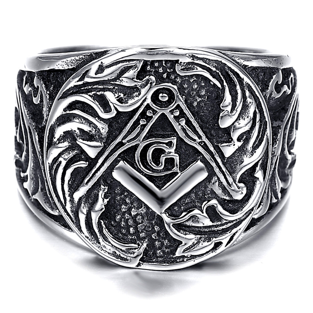 Mens stainless steel ring vintage biker silver masonic for Biker jewelry stainless steel