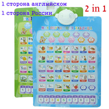 1 lato russo 1 lato inglese lingua elettronico del bambino abc alfabeto suono tabella bambino apprendimento precoce educazione fonetica grafico(China (Mainland))