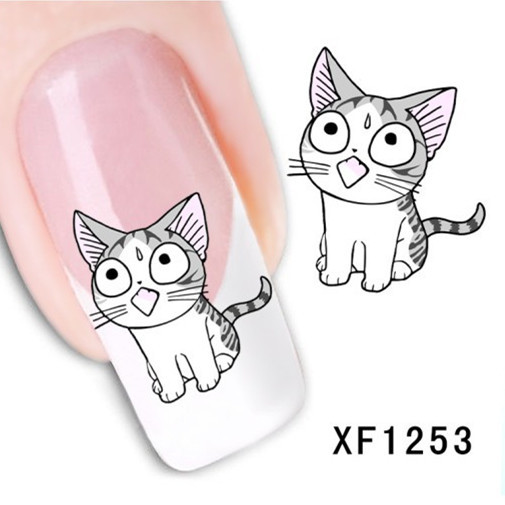 [T-XF1253]1 Sheet Nail Art Water Transfer Sticker Decals Cute Cats New Stickers Decorations Watermark Tools for Polish(China (Mainland))