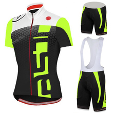 Fluorescence Breathable Cycling Jerseys/Quick-Dry Ropa Ciclismo Cycling Clothing GEL Pad Bike Bib Shorts/Racing Bicycle Pants(China (Mainland))