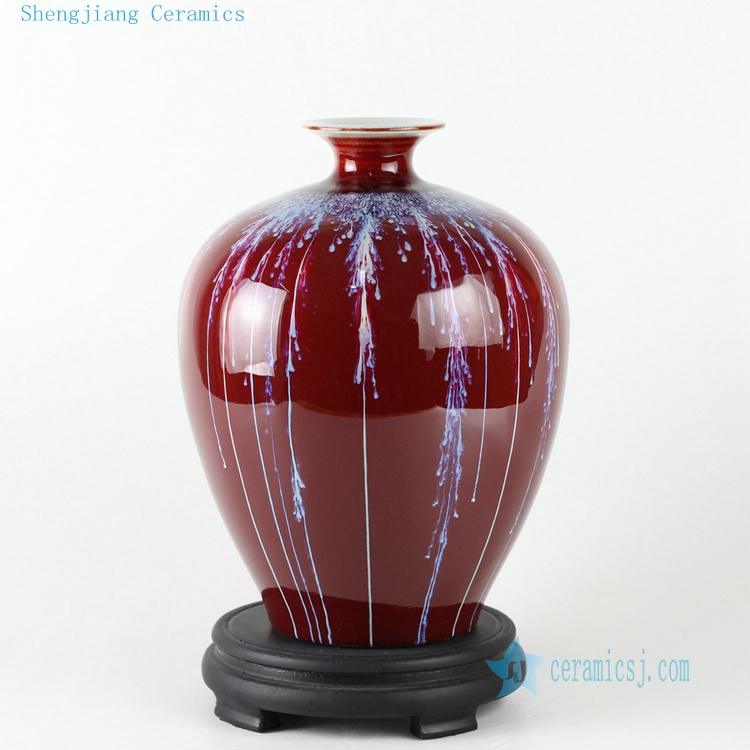 10.5inch Ceramic Chinese vase oxblood red(China (Mainland))