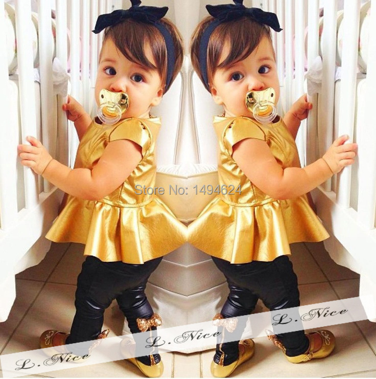 2015 Summer Hot Sale Baby Girls Clothing Set Golden Black Dress + Pants Kids Clothes Girls Clothes Children's Day Gifts(China (Mainland))