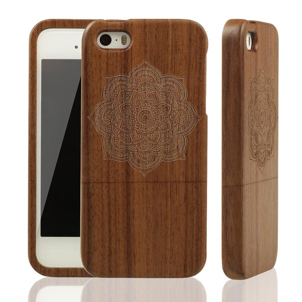 Natural Wooden Case for Apple iPhone 5 5S Wood Cover Real Bamboo Carving Back Cases Protective Mobile Phone Covers + Free Film