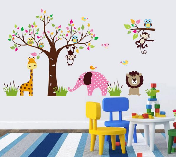 2015 nouvelle bande dessin e singe hibou arbre autocollants de mur de cr che decal animaux wall. Black Bedroom Furniture Sets. Home Design Ideas