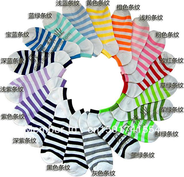 2013 hot sale women  cute stripe socks slippers boat socks candy color cotton free shipping