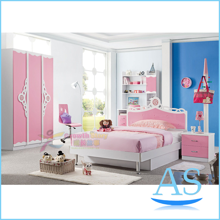 2015 China Modern Lovely Kids Bedroom Furniture Girls Popular Pink Bedroom Se