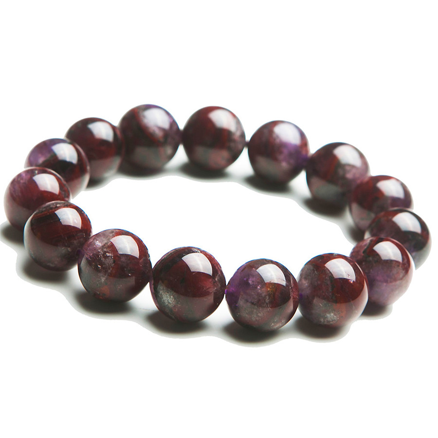 Genuine Purple Red Cacoxenite Natural Stone Bracelets For Women Mens Jewelry 16mm Big Round Stretch Charm Crystal Bead Bracelet(China (Mainland))