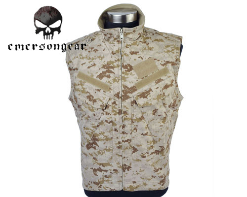 Emerson Wearable Military Tactical Army Double-sided Vest with Zipper Sticker Airsoft Training Outdoor Hunting Shooting Clothes