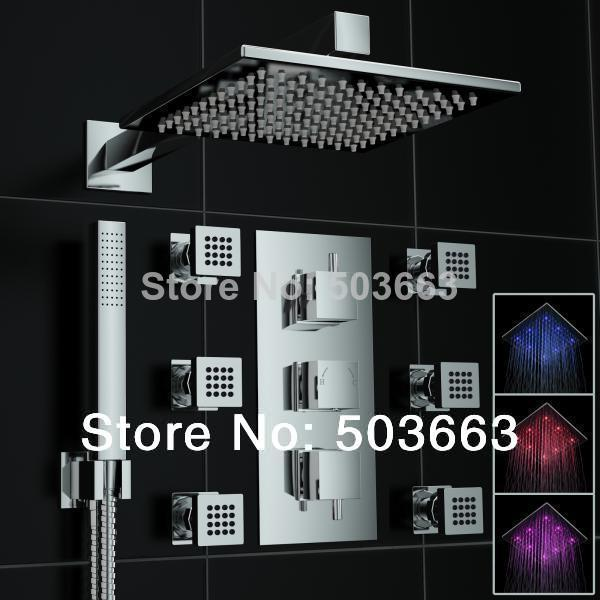 "Luxury 10"" LED Head Massage Jets 6 Thermostatic Multiple Function Shower Set Body Spray MF-649 Mxier Tap Shower Faucet Set(China (Mainland))"