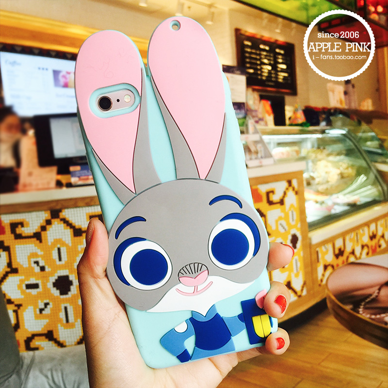 Rabbit Case For Iphone 6 / Iphone 6 6s Plus / 5s SE Case Ripndipp 3D Animals Soft Silicon Rock Cover For Iphone6 silica gel(China (Mainland))