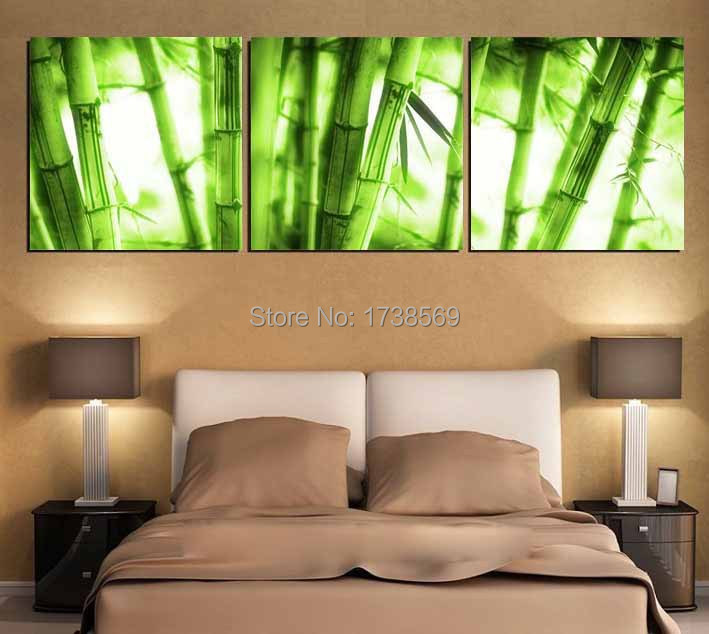 Free Shipping 3 panel Wall art picture Modern Home Decoration canvas Print green bamboo oil painting printed on canvas(China (Mainland))