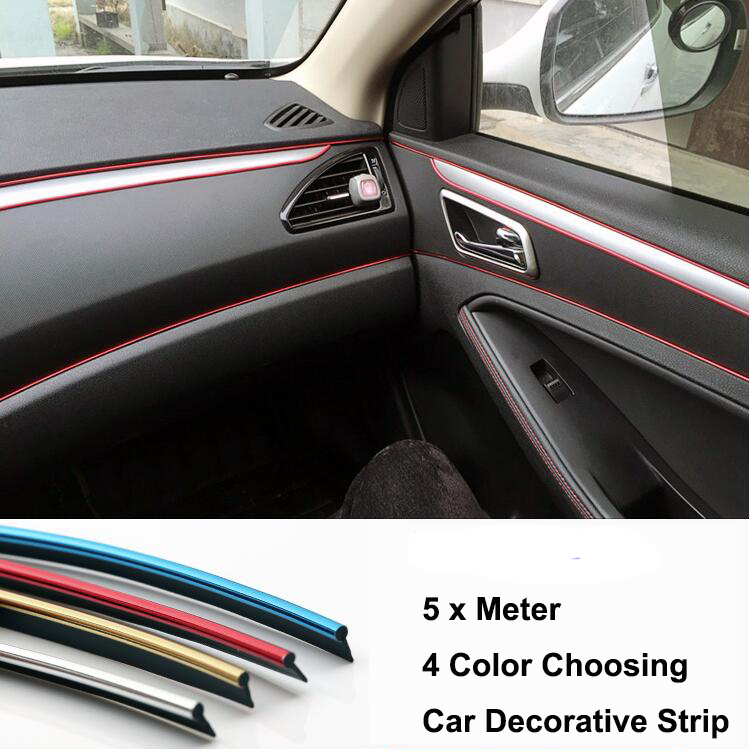 5 Meter Car Side Rein Side moulding decoration strip PVC decorative tape Auto dash panel trim strip automotive center stack