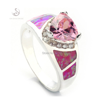 Clearance Free shipping Wholesale Pink Cubic Zirconia with Pink opal (purple)  Promotion silver Plated ring R341 size#6 7 8 9 10