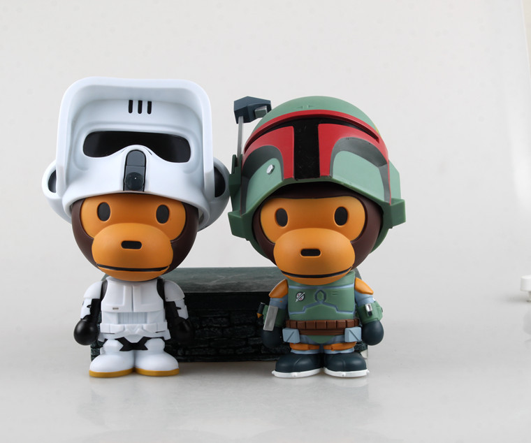 1pcs/set Star Wars Stormtrooper BABY milo COS Mouth Monkey Boba Fett Black Series BB8 Darth Maul Han Darth Vader Model PVC 16CM