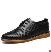 Men's Flats Shoes  Summer Fashion New Breathable  Hollow  Men's Business Casual Shoes Leather Shoes Men Shoes Black/Brown 38-46