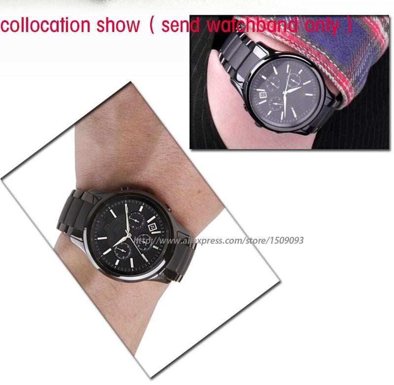 Новые поступления загнутым концом керамический браслет для мужчин для AR1451 | AR1452 ремешок для часов 24 мм черный с серым водонепроницаемые часы ремень