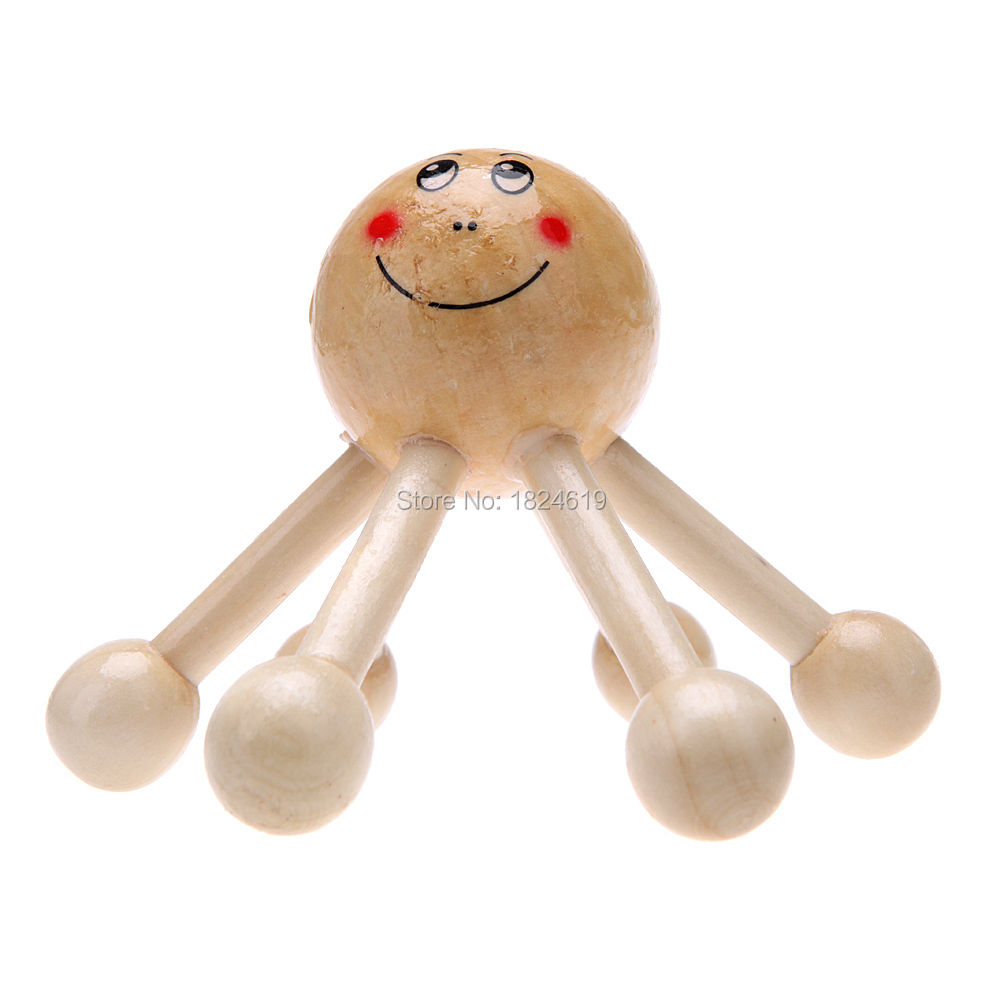 Summer Six Legs Smiley Face mini Portable anti cellulite wooden massager scalp cell roller Knee Back Head Massage Relaxation(China (Mainland))