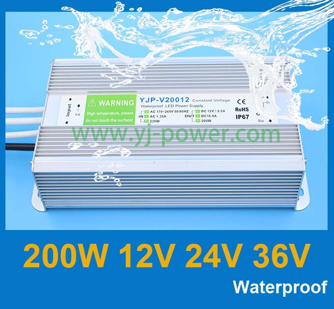High quality AC transformer 200w 12v power adapter 12VDC led equipment power supply with CE Rohs IP67 waterproof power adapter(China (Mainland))