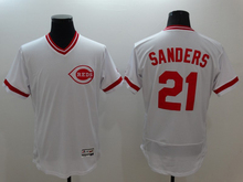 New Fabric Mens Flexbase Version #30 Ken Griffey #21 Deion Sanders #19 Joey Votto Jersey Color Red White Jerseys(China (Mainland))