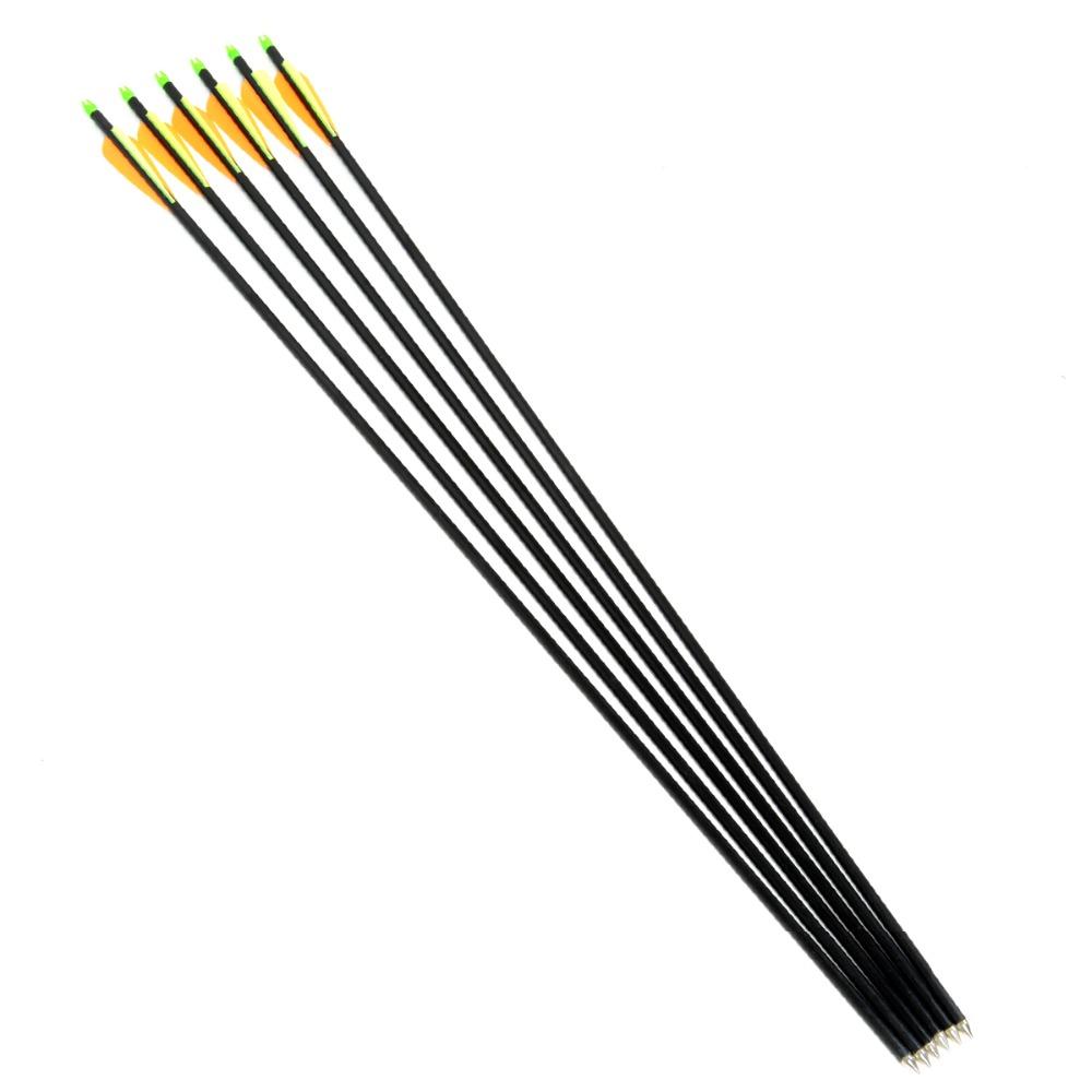 Free shipping 6pcs lot Fiberglass Arrow for Shoot Archery Bow Outdoor Sport with sliver tips arrowhead