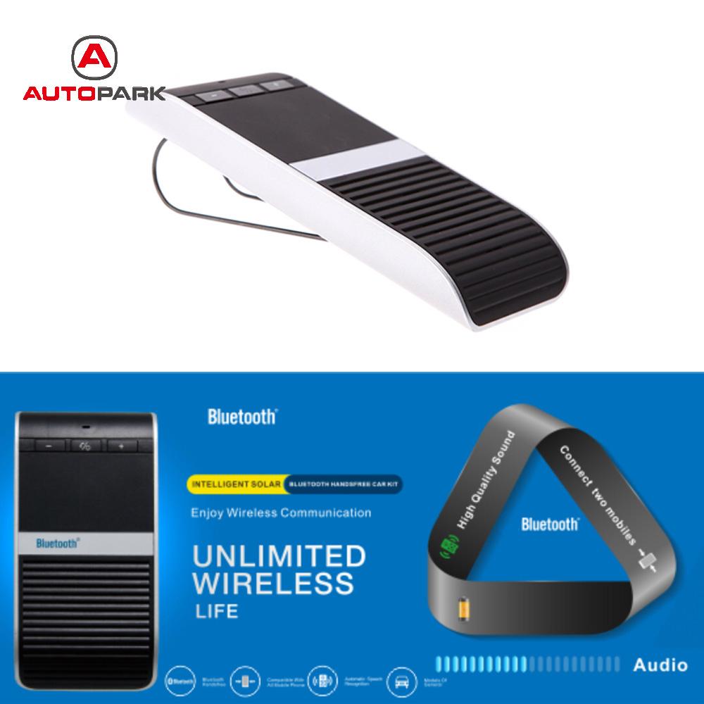 New Wireless Bluetooth Handsfree Car Kit Speakerphone Solar Powered hands free car speaker Sun Visor Clip with Car Charger(China (Mainland))