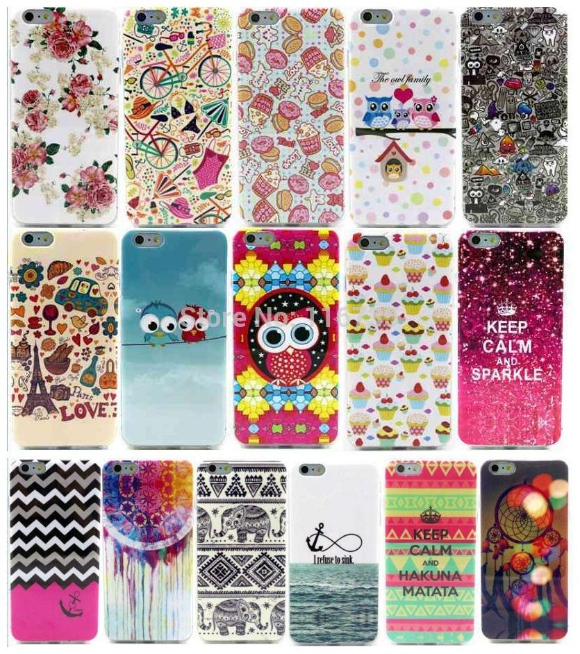 Cupcake Owl Flower Car Painting Cartoon Cute Case For iPhone6 Plus 5.5'' for iPhone 6 6G Plus TPU Soft Gel Back Cover Cases(China (Mainland))