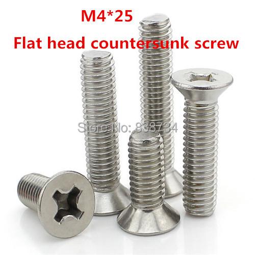 100PCS m4*25 304stainless steel flat philip countersunk head machine screw<br><br>Aliexpress
