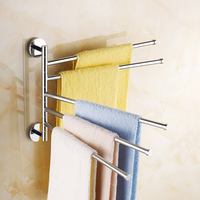Full copper folded towel bar bathroom towel hanging  rotating multi- pole free shipping