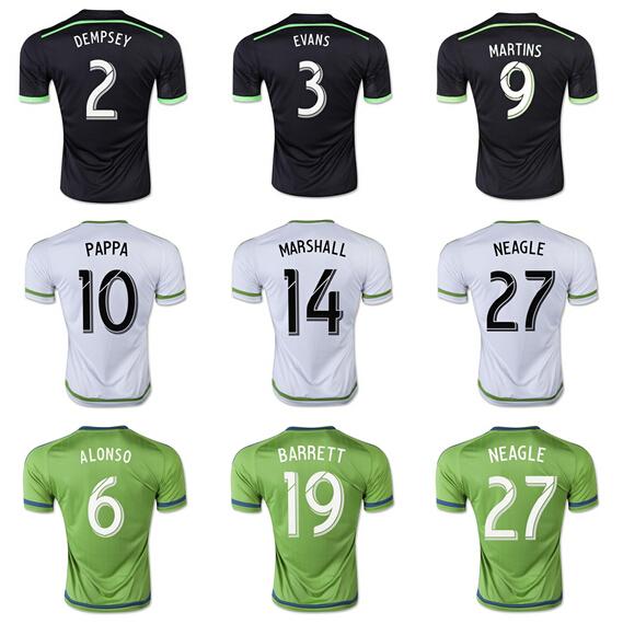 Seattle Sounders Jersey 15 16 FC Soccer Osvaldo Alonso Jersey 9 Obafemi Martins 17 DeAndre Yedl 2 Clint Dempsey 3 Brad Evans(China (Mainland))