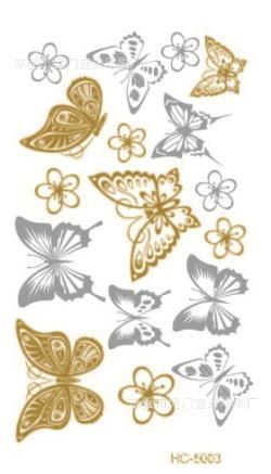 sex products necklace bracelets tatoo metal temporary tattoo women flash metalic fake gold silver butterfly tattoos HC-5003(China (Mainland))