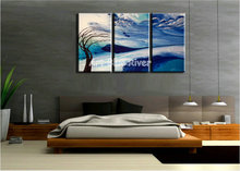 Buy 3 piece handmade picture blue landscape canvas wall art abstract modern oil painting canvas bedroom living room decoration for $69.00 in AliExpress store